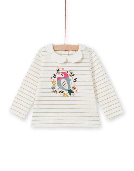 T-shirt a righe con motivo uccello e fiori neonata MIKABRA / 21WG09I1BRA001