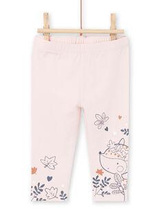 Camicia bianca e leggings rosa con stampa fantasia nascita bambina MOU1ENS2 / 21WF0341ENS001