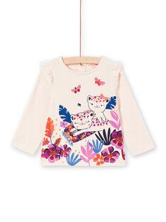 T-shirt maniche lunghe rosa chiaro con motivi tigri neonata MIPATEE1 / 21WG09H4TMLD319