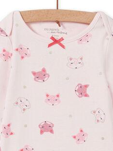 Body maniche lunghe rosa con stampa volpe neonata MEFIBODTET / 21WH13C1BDL632