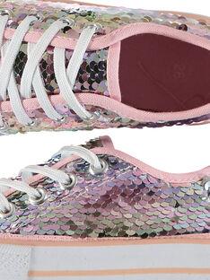 Scarpe da tennis tela paillettes bambina FFTENSEQU / 19SK35C2D16030