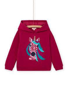 Felpa stile t-shirt con cappuccio rosa motivo unicorno bambina MATUSWEA / 21W901K1SWED312