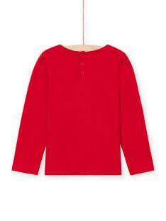 T-shirt a maniche lunghe rossa con dettaglio pizzo bambina MAJOSTEE5 / 21W90124TML511