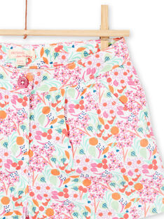 Shorts bianchi e rosa stampa a fiori bambina LAVISHORT / 21S901U1SHO000