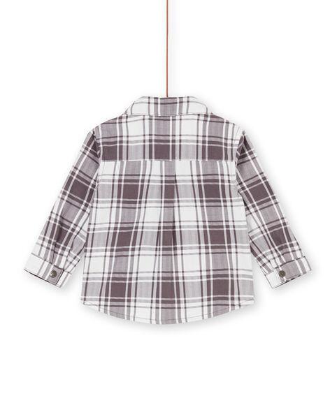 Camicia taupe e bianca a quadri neonato LUPOECHEM / 21SG10Y1CHM001