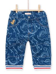 Pantaloni blu con stampa dinosauro neonato LUCANPAN2 / 21SG10M2PANP272