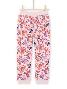 Pantaloni sportivi rosa e viola stampa pappagalli e a fiori bambina MAJOBAJOG3 / 21W90113JGBD314