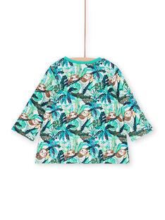 T-shirt blu e verde stampa foglie neonato LUVERTUN / 21SG10Q1TML001