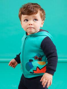 Cardigan con cappuccio turchese motivo skateboard neonato MUTUGIL / 21WG10K1GILC217