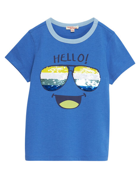T-shirt bambino blu occhiali in paillettes double face JOQUATI1 / 20S902R3TMCC201