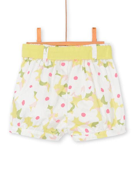 Shorts bianchi e gialli con stampa a fiori neonata LIBALSHO / 21SG09O1SHO000