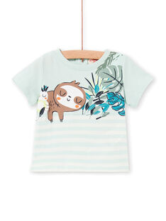 T-shirt verde acqua e bianca a righe neonato LUVERTI3 / 21SG10Q3TMCG632