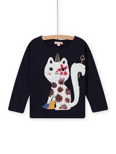 T-shirt blu notte con motivo gatto-unicorno bambina MAMIXTEE3 / 21W901J2TMLC205