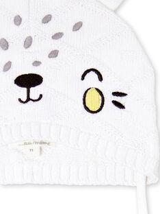 Berretto bianco e giallo in maglia LOU1BON3 / 21SF42H2BON000