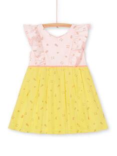 Abito rosa e giallo stampa frutta con glitter LAJAUROB3 / 21S901O2ROB307
