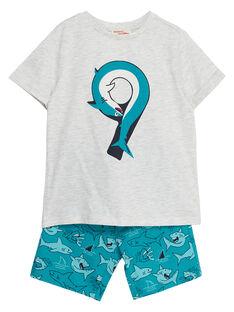 Completo da spiaggia bambino t-shirt grigio melange e bermuda con stampa turchese squalo JOPLAENS1 / 20S902X2ENSJ906