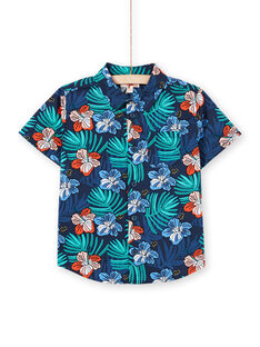 Camicia navy con stampa a fiori bambino LOBONSHIRT / 21S902W1CHM705