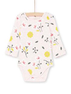 Body rosa chiaro e giallo stampa a fiori neonata MEFIBODFLE / 21WH13B7BDL301