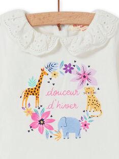 T-shirt ecrù collo in voile motivi a fiori fantasia neonata MIPLABRA / 21WG09O1BRA001