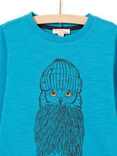 T-shirt maniche lunghe turchese motivo gufo bambino MOJOTEE5 / 21W902N1TMLC211