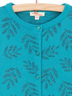 Cardigan turchese stampa foglie in Lurex® LAVERCAR / 21S901Q1CARC216
