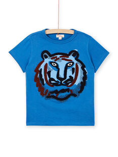 T-shirt blu in cotone bambino LOBLETEE2EX / 21S902J1TMC702