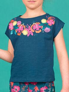 T-shirt maniche corte, motivo fiori stampati e con rilievo sul collo LABONTI2 / 21S901W3TMC716