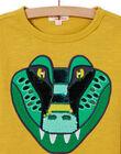 T-shirt gialla motivo coccodrillo con paillettes double face bambino MOKATEE2 / 21W902I3TML106