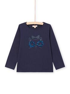 T-shirt maniche lunghe blu notte motivo gatto bambina MAJOYTEE1 / 21W90113TMLC205