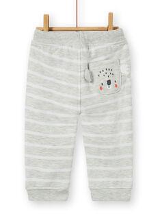 Pantaloni grigio melange e bianchi a righe neonato LUJOPAN4 / 21SG1031PAN943