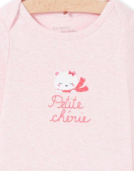 Body corredo bambina a maniche lunghe rosa melange motivo orsetto LEFIBODCOU / 21SH132ABDLD314