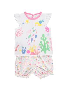 Baby girls' cotton pyjamas CEFIPYJMAR / 18SH1362PYJ000