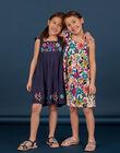 Abito navy stampa fiori colorati bambina LAMUMROB4 / 21S901Z2ROBC211