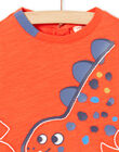 T-shirt rossa maniche lunghe motivo dinosauro neonato MUPATEE2 / 21WG10H3TMLF524