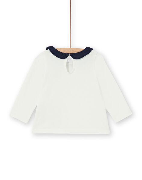 T-shirt ecrù e blu scuro in cotone neonata LIJOBRA4 / 21SG0934BRA001