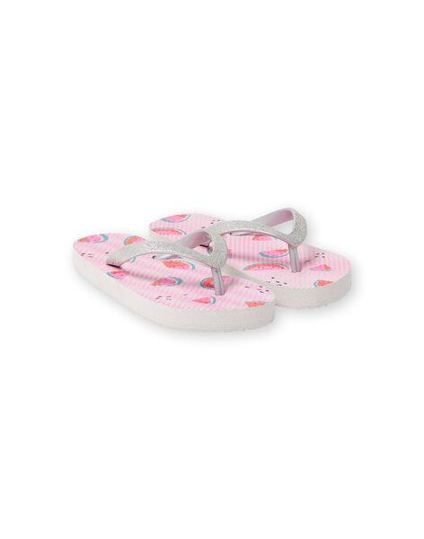 Infradito rosa a righe con stampa cocomero bambina LFTONGFRUIT / 21KK3562D01000
