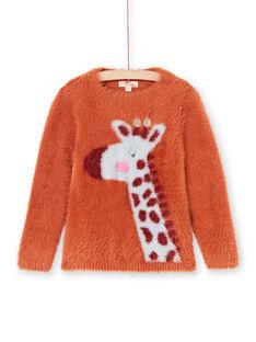 Maglia maniche lunghe caramello motivo giraffa bambina MACOMPULL / 21W901L1PUL420