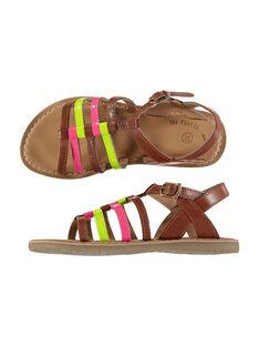 Sandali da città in pelle fluo bambina FFSANDVIA / 19SK35C7D0E030