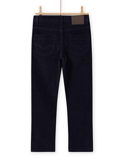 Pantaloni a tinta unita blu notte in velluto a costine bambino MOJOPAVEL4 / 21W90211PAN705