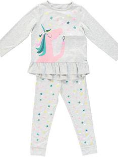 Pigiama grigio melange unicorno bambina JEFAPYJLIC / 20SH11C2PYJ943