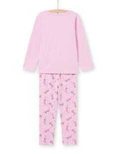 Completo pigiama T-shirt e pantaloni rosa bambina MEFAPYJAGU / 21WH1171PYGH700