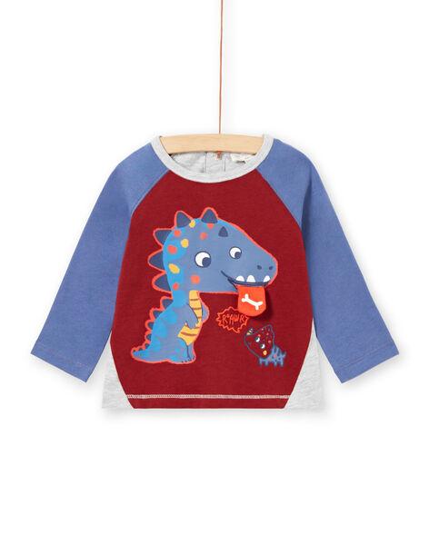 T-shirt blu, bordeaux e grigio melange neonato MUPATEE1 / 21WG10H1TML719