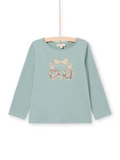 T-shirt turchese maniche lunghe con motivo gatto glitterato bambina MAJOYTEE4 / 21W9012CTML612