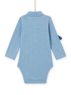 Body blu melange con collo motivo spazio neonato MUPLABOD / 21WG10O1BODC224
