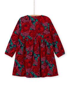 Abito maniche lunghe stampa a fiori in velluto a costine bambina MAFUNROB1 / 21W901M3ROBH703