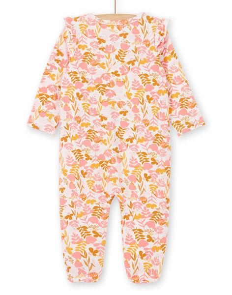 Tutina bianca e rosa con stampa a fiori in jersey neonata LEFIGREAOP2 / 21SH135CGRE632