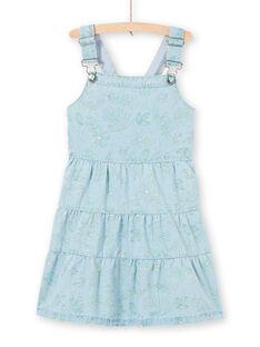 Abito salopette in jeans azzurro stampa foglie bambina LAVEROB4 / 21S901Q3ROBP272