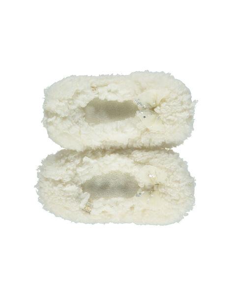 Babbucce con elastico ecrù fiocco glitterato bambina GFBALNOEUD / 19WK35Z2D07001
