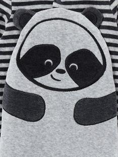Tutina corredo bambino in velluto a righe melange motivo panda LEGAGREPAN / 21SH1451GREJ922