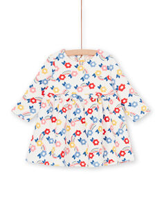 Abito ecrù e blu con stampa a fiori neonata LIHAROB1 / 21SG09X1ROB001